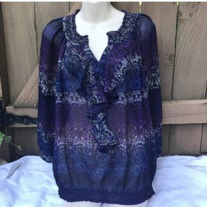 The Limited purple ruffle blouse size M